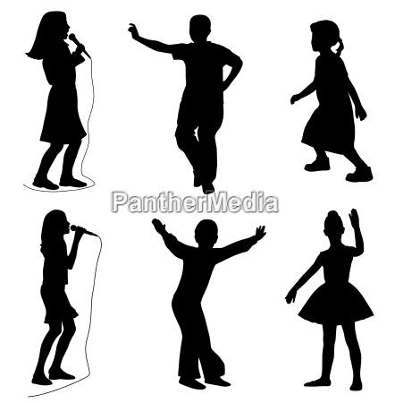 bambini che cantano ballando vector eps