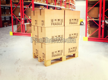3d pallets in warehouse