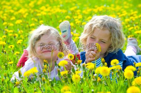 primavera tarassaco bambino fidanzata ragazza ragazze