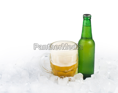 bottle of beer and beer mug
