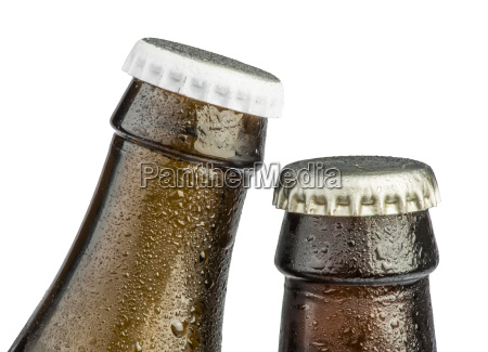 brown beer bottles isolated
