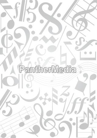 modello di note musicali in grigio