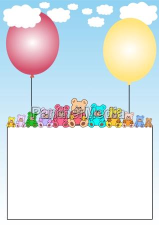 cartello pubblicitario con orsacchiotti palloncini
