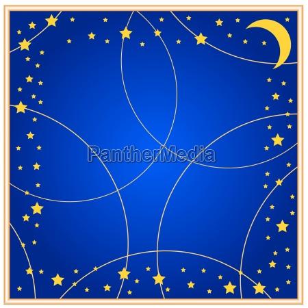blu luna quadrato plastica cielo stellato