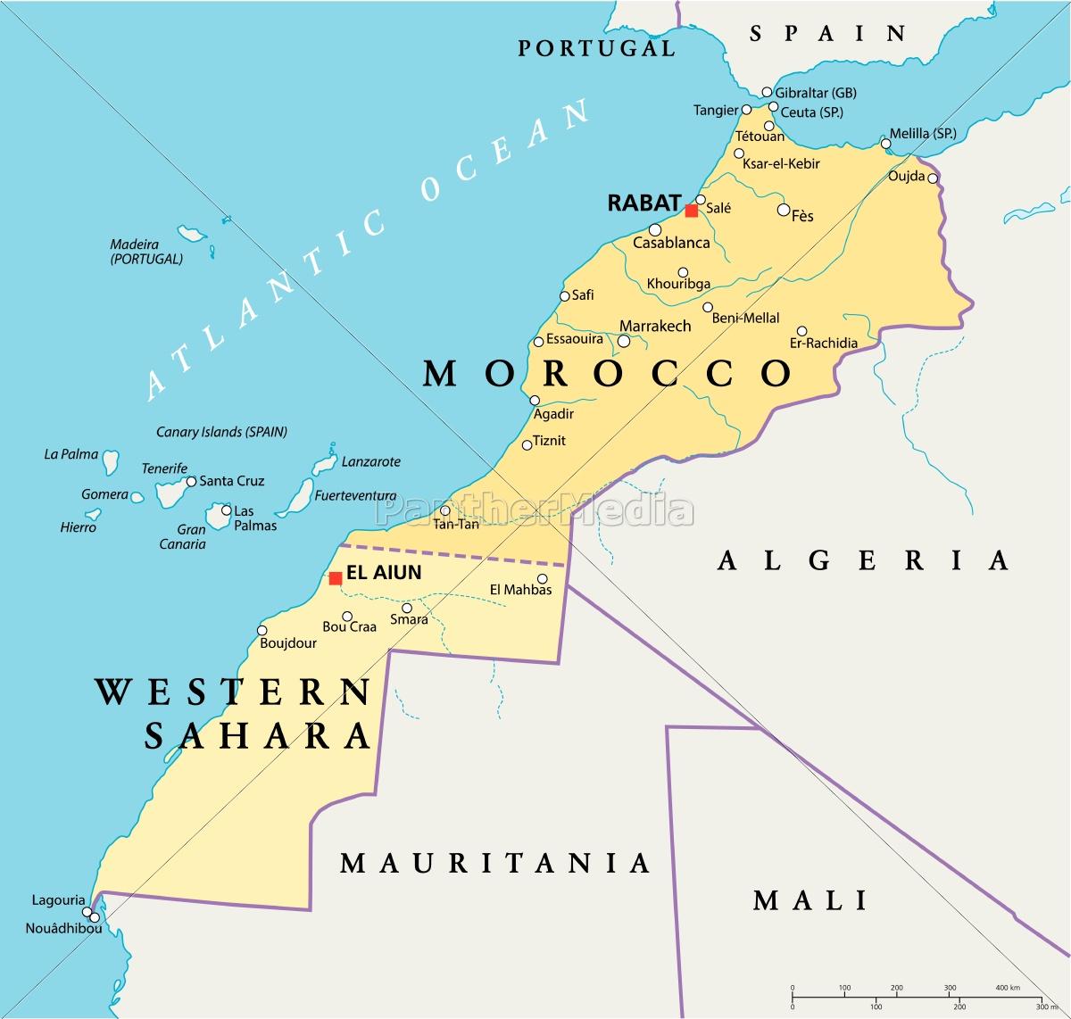 Cartina Marocco Politica.Marocco E Sahara Occidentale Mappa Politica Stockphoto 9697962 Comprate Immagini Rf Da Panthermedia