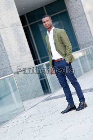 young attractive successful african american businessman