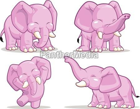 animale mammifero elefante carattere fumetto vettore