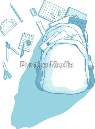 sacchetto di scuola con materiale scolastico