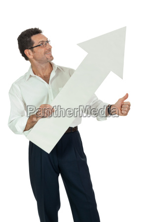 adult businessman with arrow sign isolated