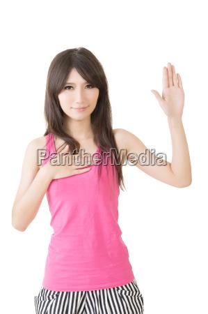 asian giovane donna da un gesto