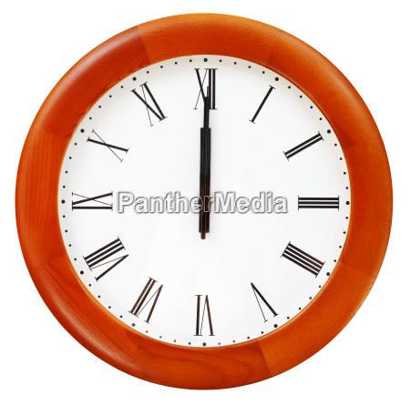 midnight on the round wall clock