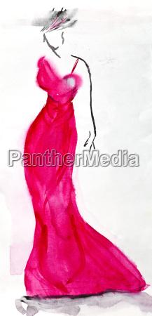 lungo abito da sera rosa di