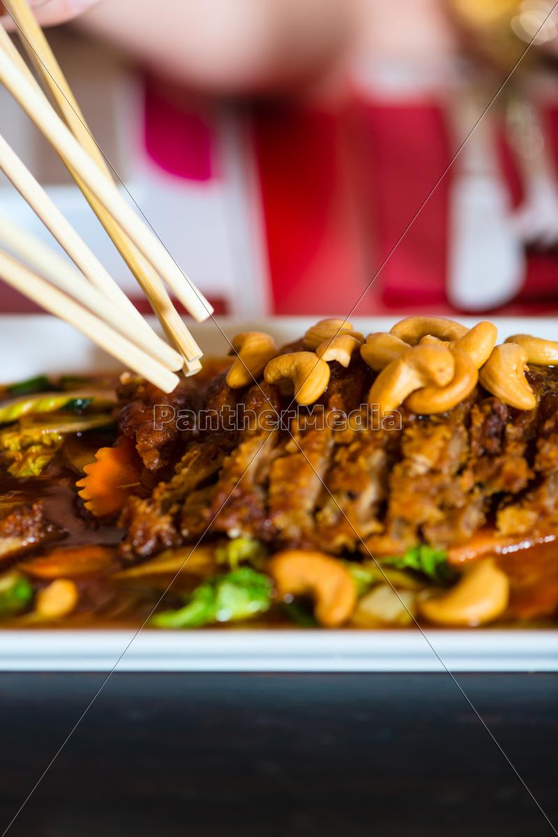 junge, leute, essen, in, einem, thai - 9876356