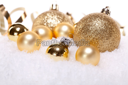 festive christmas decoration in gold shiny
