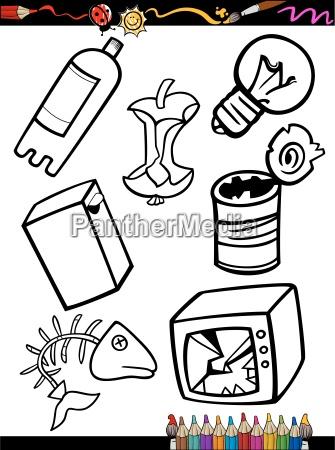 oggetti di immondizia del fumetto da