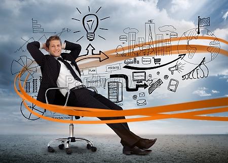 businessman seduto di fronte a brainstorm