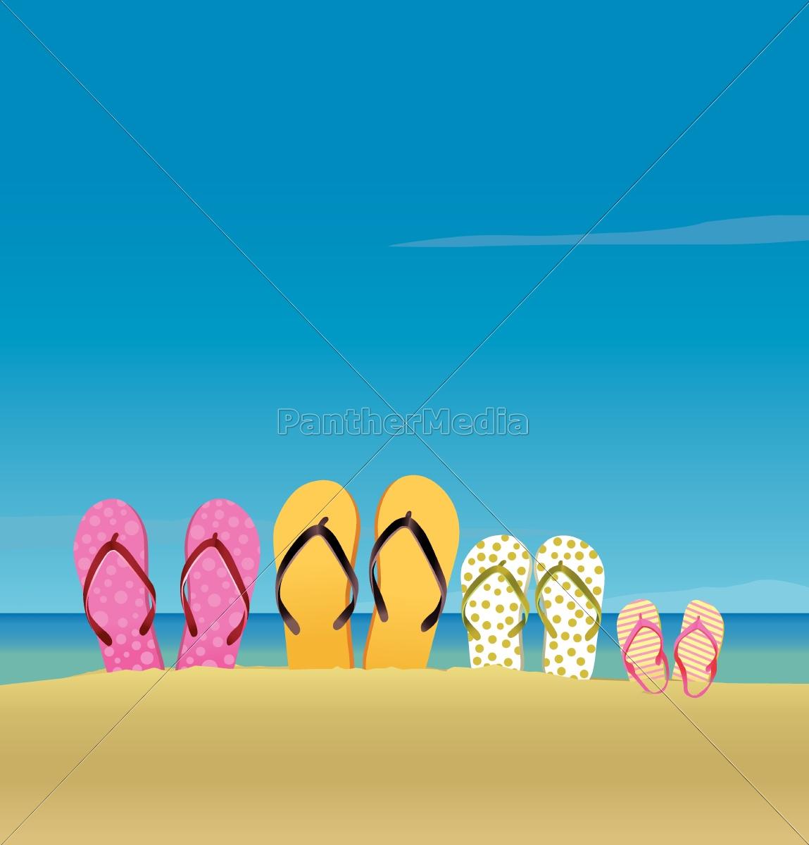 tutta, la, famiglia, in, spiaggia - 10028814