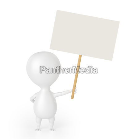 character with blank placard