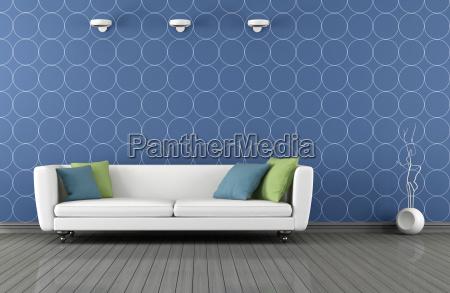 salone, moderno, blu, e, bianco - 10129275