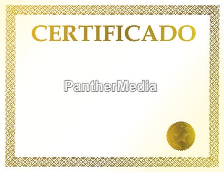 certificato vuoto spagnolo pronto per essere