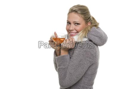 donna tazza treccia mano mani te