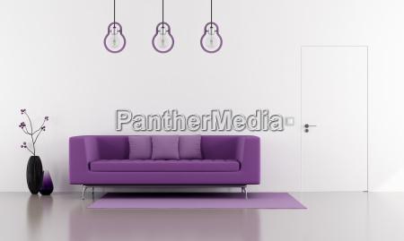 purple sofa in a minimalist white