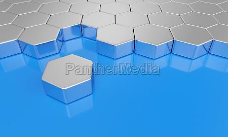 concetto di blocco esagonale blu