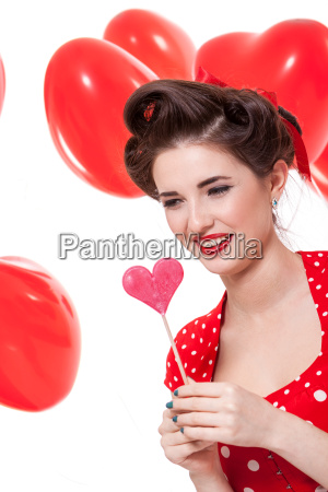 young attractive woman with red lips