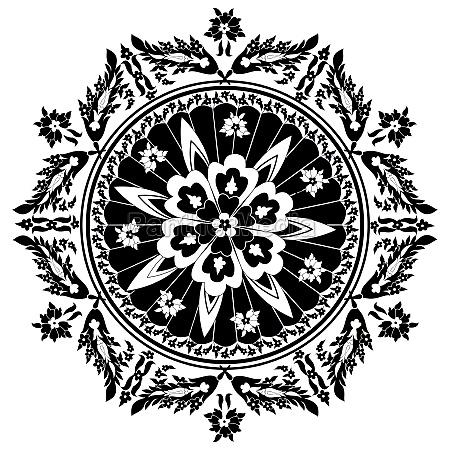 black decorative oriental pattern and ornaments