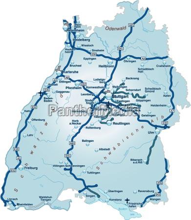 mappa del baden wuerttemberg con rete