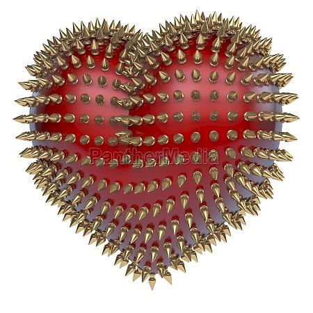 rosso il cuore lucido con punte