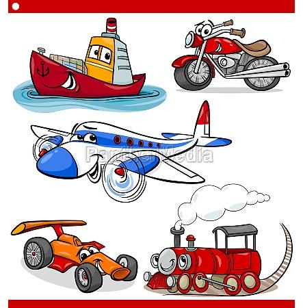 set di automobili e veicoli divertenti