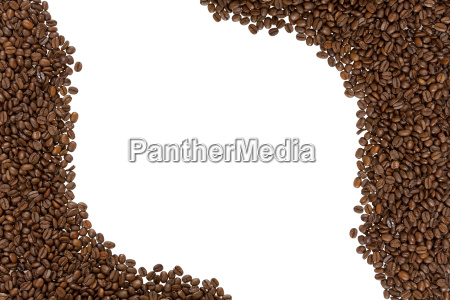 cornice di chicchi di caffe tostati