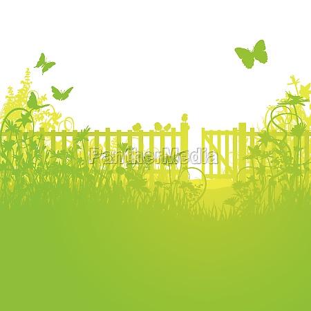 giardino recinzione e cancello aperto