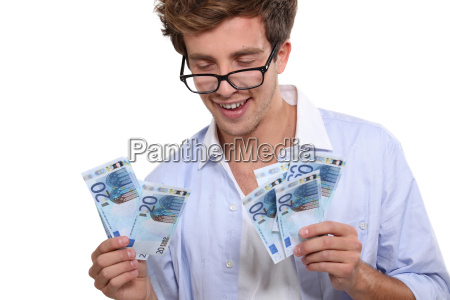 man with lots of euros