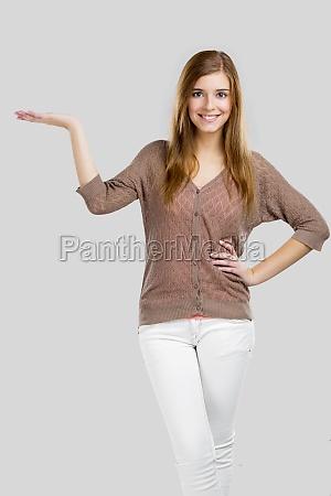 donna donne presentazione pubblicizzare annunciare palmo