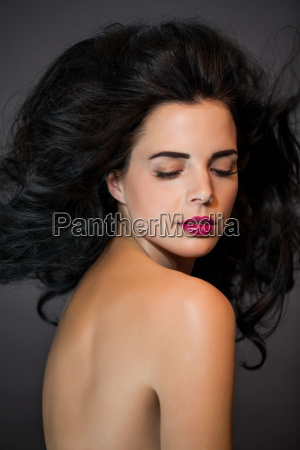 hair young attractive woman with red