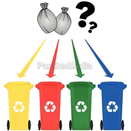 scorie riciclo pattumiera riciclaggio lattina spazzatura