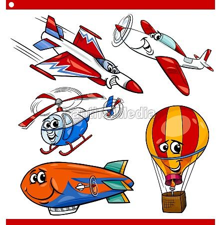divertenti veicoli aerei cartoon set