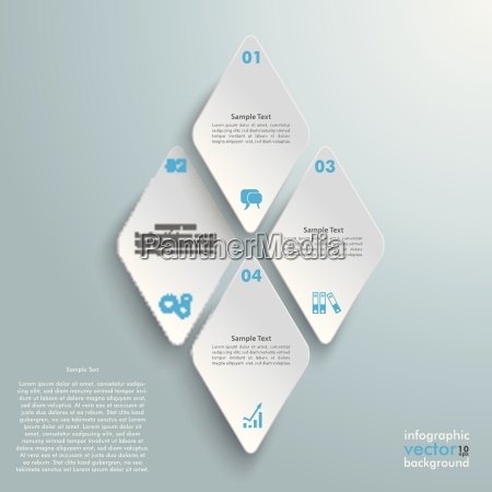 4 rhombus pieces infographic