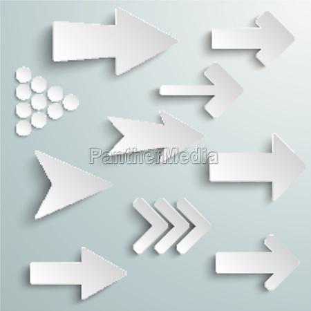 frecce bianche diverse
