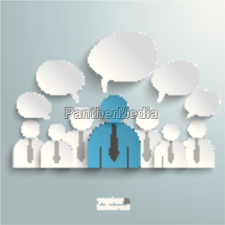 seven business humans speech bubbles