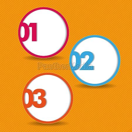 tre opzioni arancione strisce sfondo