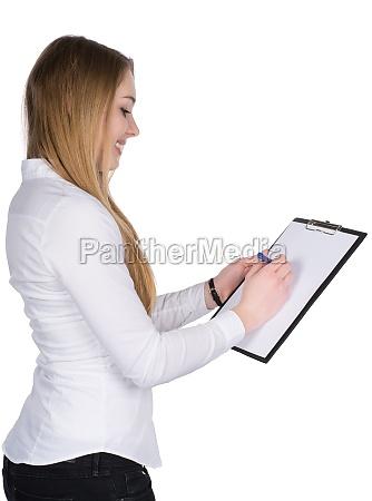 donna ufficio risata sorrisi camicetta commesso