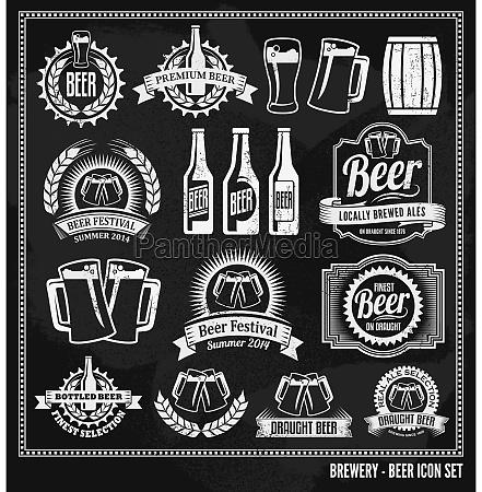 icona di birra lavagna set