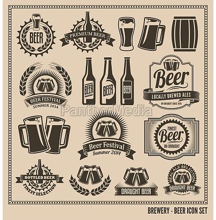 set di icone birra etichette