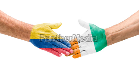 mano mani amicizia raggiungere stretta di