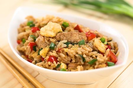 riso fritto con verdure pollo e