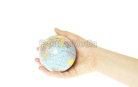 mano scienza pace tenere proteggere globo
