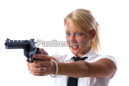blonde woman with gun